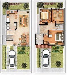 Planos De Casas Gratis Y Departamentos En Venta Plano De Vivienda De 2 Plantas Con Cochera Planos De Casas Modernas Casas De Dos Pisos Planos De Casas Chicas