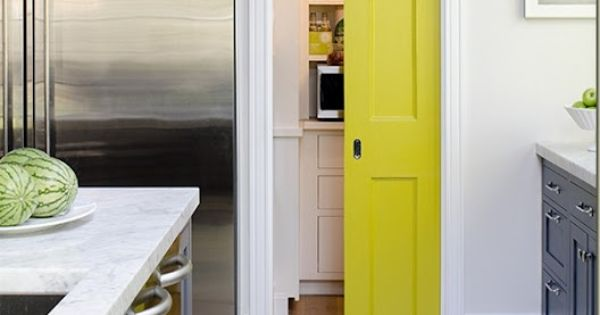 Love this idea, paint your pantry door for a pop of color