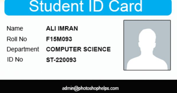 Student Identification Card Template Design The School