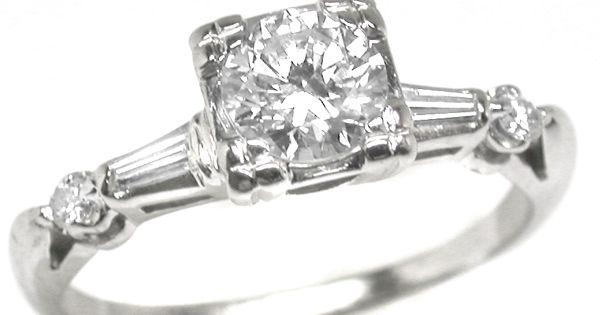 1950s white gold, .75 ct Round (51405ESS)   Rings   Pinterest   White ...