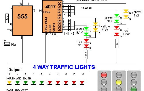 traffic lights for model cars or model railways circuit schematic 4 way traffic lights diagram