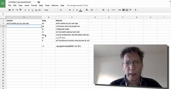 BSOTD, using translate in google spreadsheets BSOTD (Bert
