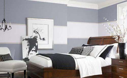 Wandfarbe Grau Graue Wand Mit Weissen Streifen Schlafzimmer Design Schlafzimmerfarben Schlafzimmer Wand