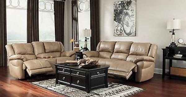 Ashley Lenoris Top Grain Leather Reclining Sofa And Loveseat U98904 Furniture Dinette Furniture Quality Furniture