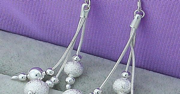 Fine Jewelry 925 Sterling Silver Three Wire Bead Earrings Retro Long Tassel Drop Earrings Top Q In 2020 Beaded Drop Earrings Fashion Jewelry Earrings Women S Earrings