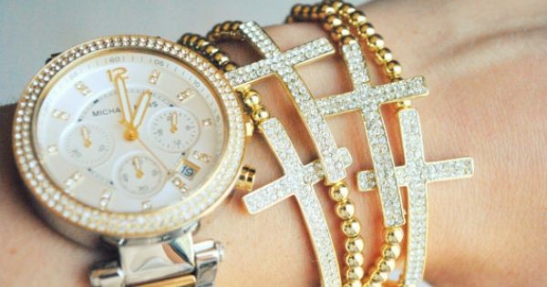 Gold Pave Crystal Cross Sideways Bracelets via gold