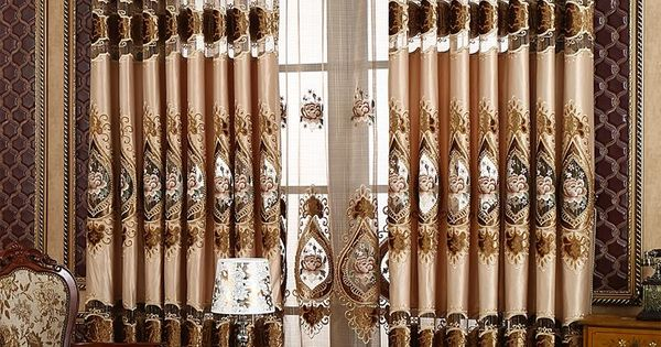 European Style Chic Lace Embroidery Grommet Top Curtain - beddinginn ...