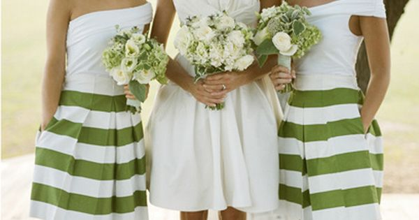kelly green striped bridesmaids dresses via Southern Weddings love this for brides