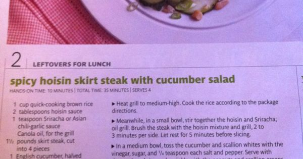 Spicy hoisin skirt steak with cucumber salad, real simple magazine ...