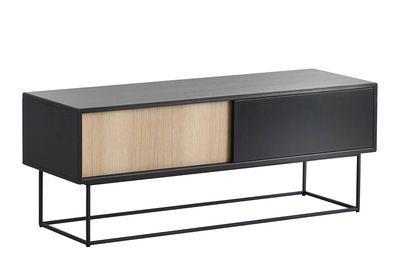 Buffet Virka Low Woud Noir Bois Naturel Made In Design Black Sideboard Low Sideboard Sideboard Furniture