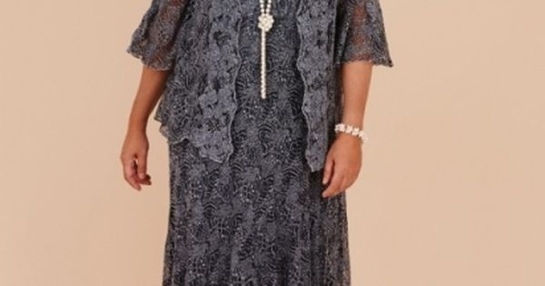Plus Size Gray Lace Tea Length Mother Of The Bride Dresses