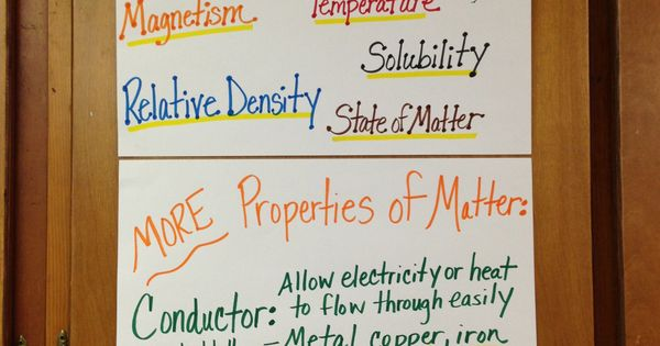 physical properties of matter anchor chart school