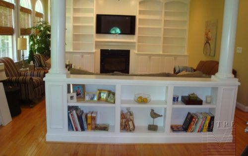 Built in bookshelves ideas half wall built in bookcase with columns for the home pinterest - Half wall bookcase room divider ...