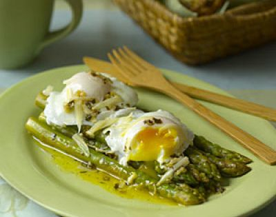 Easter Healthy Recipes- Asparagus with Poached Eggs and Parmesan dish - could