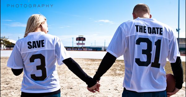 Cute SAVE the DATE Wedding Idea football jerseys