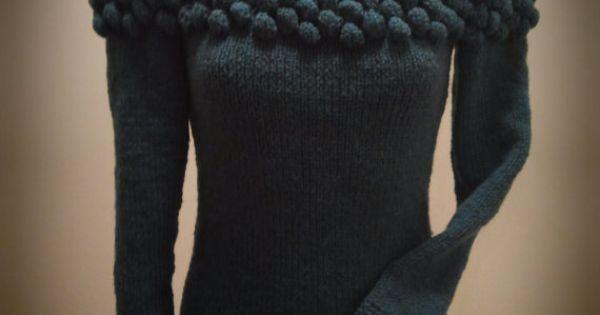 Knitting Wearable Art : Wool sweater turquoise blue green bobble fall
