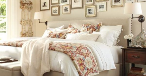 pottery barn bed - room - picture wall - love