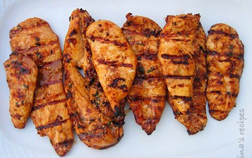 Asian Grilled Chicken: Marinade 3+ hours 6 thin boneless skinless chicken cutlets