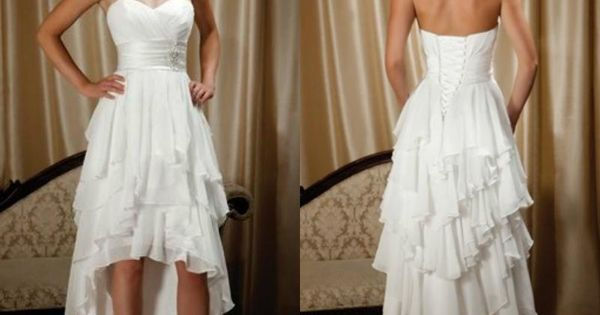 Simple Wedding Dresses Low Back: New Arrival Short Front Long Back Sweetheart Chiffon High
