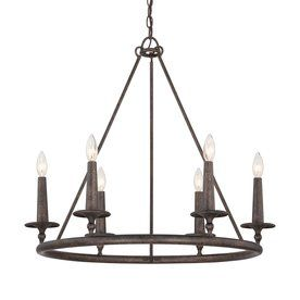 Quoizel Voyager 28 In 6 Light Malaga Rustic Candle Chandelier