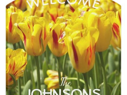 Red And Yellow Striped Tulips Personalized Floral Door Sign Spring Gifts Style Season Unique Special Cyo Welcome Door Signs Door Signs Yellow Tulips