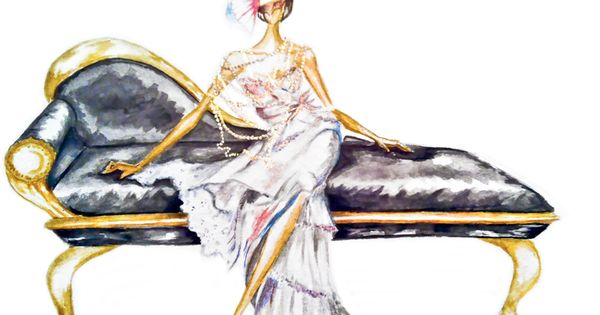 Claire Ashley ( Claire Thompson ) watercolor fashion illustration