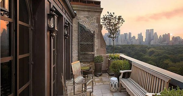 Balcony of a New York City apartment with a spectacular view overlooking