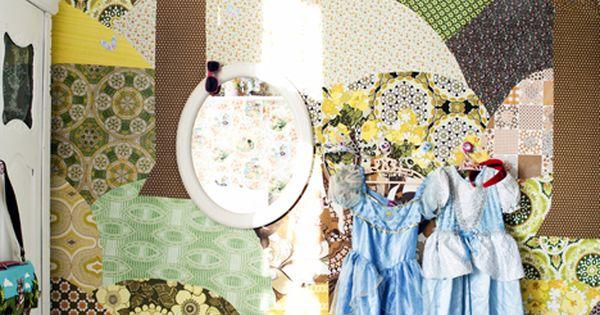 Create a wallpaper collage such a whimsical idea kids for Laure de flores linge de maison