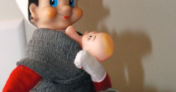 babywearing_elf_on_the_shelf Could use the baby Jesus from the nativity set