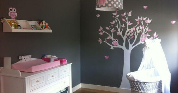 Babykamer van sylvia met lampen uil roze grijs kidsroom pinterest roze grijs babykamer en - Kinderkamer grijs en roze ...