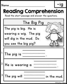 Free Reading Comprehension Passages Word Families Blends