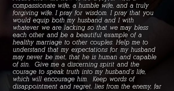 A Wife's Prayer For Her Husband ~ In the midst of all