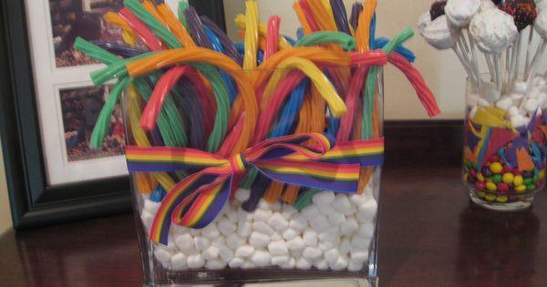 Rainbow twizzlers centerpiece rachael s projects