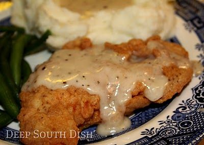 Chicken Fried Chicken - boneless, skinless chicken breast is pounded thin, dredged