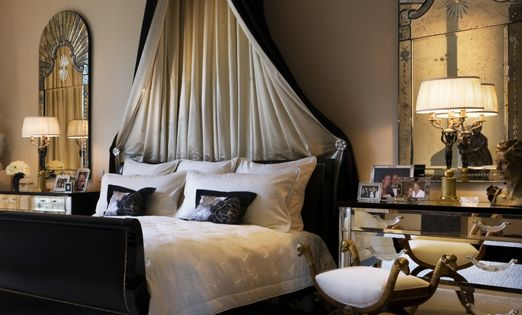 Elegant black and white bedroom with a grey background..gorgeous. @Joyce McK