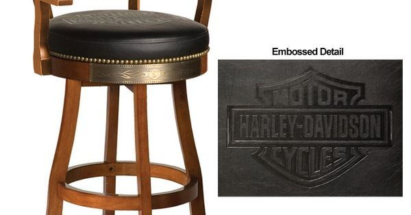 Harley Davidson Bar Shield Flames Barstool W Backrest Heritage Brown Finish Http Www