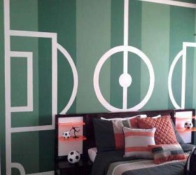 Painted Soccer Field As An Accent Wall For A Boys Room Jades