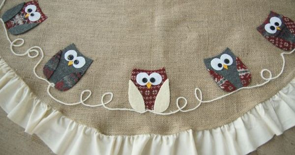 the little green bean: Loving the Owls!! tree skirt
