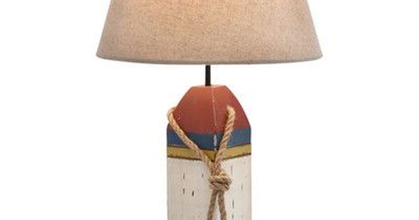 Beachcrest Home Waples Coastal Wooden Buoy 24 Table Lamp Table Lamp Wood Metal Table Table Lamp Wood