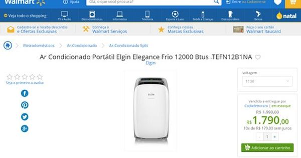 Wal Mart Ar Condicionado Portatil Elgin Elegance Frio 12000 Btus