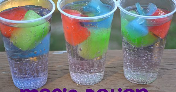 Kool Aid ice cubes, lemon lime soda. As they melt, the drink changes flavor. cool idea for kids