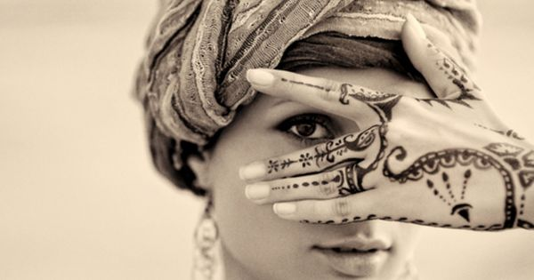 Pretty Henna design and headwrap