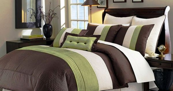 8pcs Beige Green Brown Stripe Comforter 90 Quot X 92 Quot Bed In A Bag Set Queen Green Queen