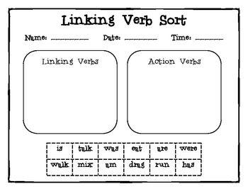 Linking Verb Sort Linking Verbs Linking Verbs Worksheet