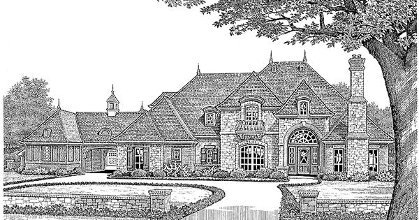Eplans house plan beautiful rustic french with porte for Porte cochere piani casa
