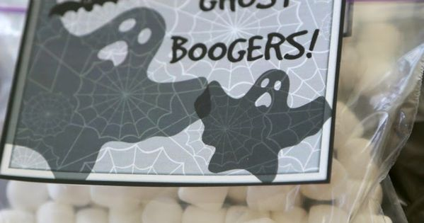 Ghost BOOGERS! Funy idea. With marshmallows. Also, easy Halloween Minute-to-Win-It Party (plus