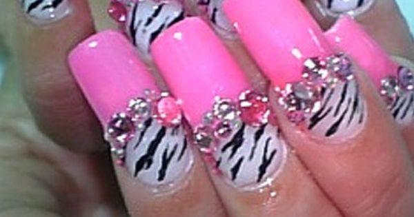 Acrylic Nail Design | Nail Design of Pinky Zebra Nailart Designs