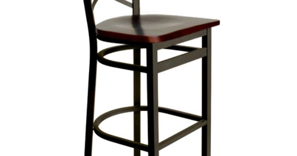 Akrin Metal Cross Back Restaurant Bar Stools With Wood