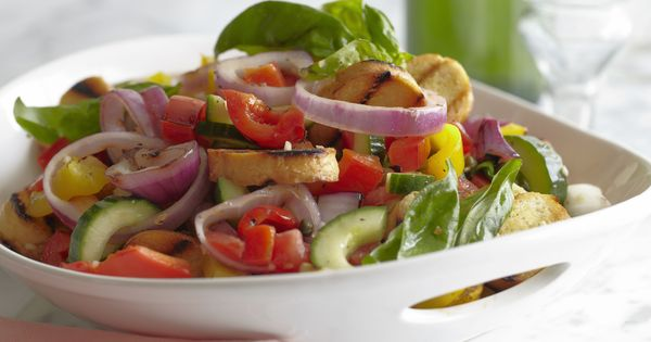 Grilled Panzanella from FoodNetwork.com....Panzanella is a salad made with bread and fresh