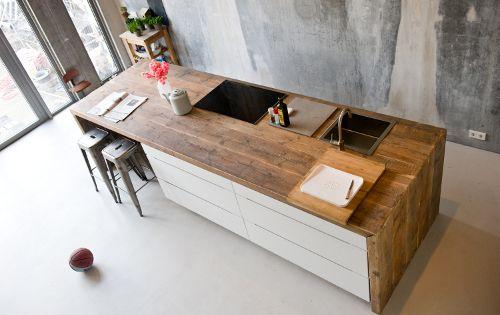 Keuken van sloophout moderne keuken keuken keukens pintere - Plan de travail repliable ...